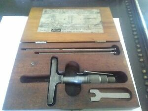 Vintage Lufkin Micrometer Depth Gage Set 513f W wooden Case Saginaw Mi