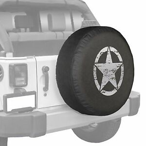 35 Distressed Star Boomerang Tire Cover Fits Jeep Wrangler Freedom Silver