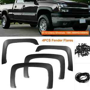 2007 2013 Chevy Silverado 1500 2500hd 3500hd Factory Style Black Fender Flares