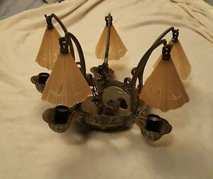 Art Deco Slip Shade Chandelier 1