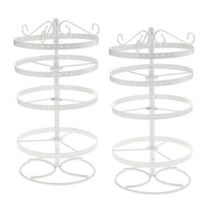 2 Pcs Earrings Ear Stud Jewelry Show Stand Rotating Display Rack 168 Holes