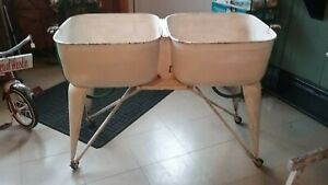 Vintage White Metal Double Basin Wash Tub Stand With Tubs Attached