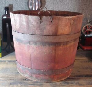Primitive Antique Original Red Painted Farm Sap Bucket W Early Wire Tap Hanger