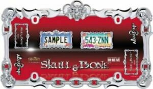 Skull Bone Chrome License Plate Frame Free Screw Caps With This Frame