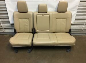 1999 2016 Ford F250 F350 Super Duty Rear Seat Tan Leather 60 40 Nice