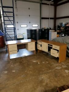 Used Desk And Credenza Set Filing Cabinets Great Cond Office Furniture