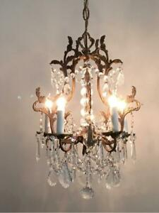 Antique Vtg Italian Brass W French Czech Crystals Petite Cage Chandelier Lamp