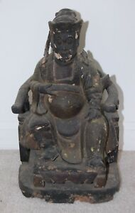 Antique Wood Carved Temple Alter Statue Of Chinese God Deity Buddha Man Vintage