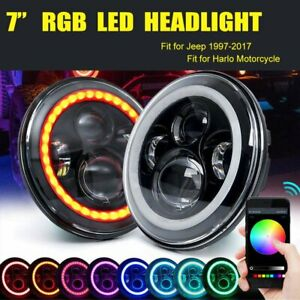 2pcs 7 Headlight Led Rgb Halo Projector Angel Drl For Jeep Wrangler Jk Tj Lj