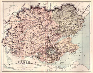 A Map Of Counties Perth Forfar Fife Kinloss Clackmannon Original Dated 1860