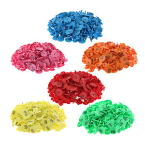 6 color 600pcs Pre Numbered Livestock Ear Tags For Pig Goat Sheep Tagging
