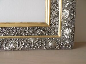 Rare 1800s Large 22 X 28 Silver Gold Gesso Museum Quality Picture Frame