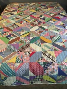 Rare Amazing Heavy Museum Quality Handmade Crazy Antique Quilt Full Bedspread