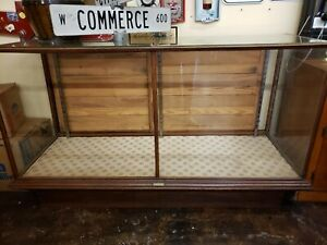 1920 Antique Display Case Oak And Glass With Sliding Back Doors