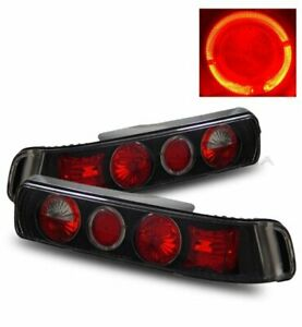 For 90 93 Acura Integra Da 2 Door Coupe Black Halo Aftermarket Tail Light Lamp
