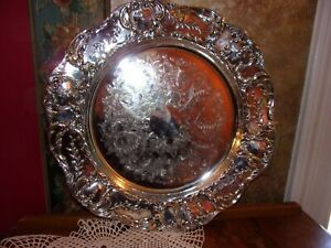 Wallace Grand Victorian Round Etched Vintage Silverplate Serving Platter Tray