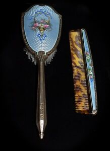 Magnificent Antique Saart Bros Sterling Enamel Guilloche Brush