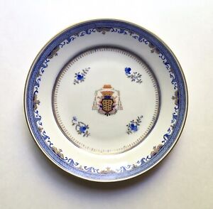 Antique Chinese Export Armorial Porcelain Plate Ecclesiastical Coat Of Arms 9