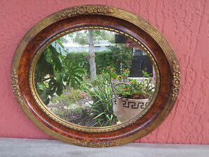 Antique Wood Oval Beveled Wall Mirror With Beading