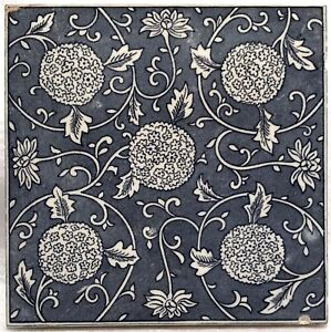 Antique Thick Ceramic Transfer Tile Aesthetic Movement Botanical Blue White