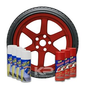 Plasti Dip Wheel Kit 4 White 3 Flame Red Classic Muscle Aerosol Spray Cans