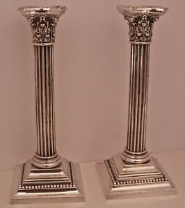 Large Pair Of 10 1 4 Gorham Sterling Silver 3207 Corinthian Column Candlesticks