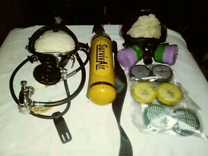 Survivair Respirator 2 Masks 6 New Filters And Tank