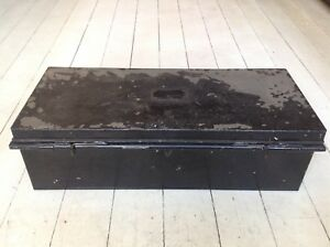 Vintage Black Metal Trunk Chest John Pound Co The Strand 25 X10 X 7