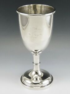 Antique 1856 Boston Coin Silver Jones Shreve Brown Water Wine Goblet Chalice