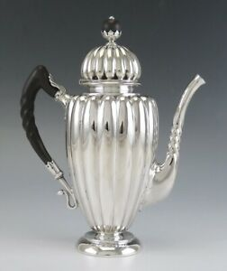 Antique C1890 American Coin Silver Turkish Style Demitasse Coffee Tea Pot