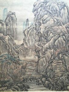 Antique Chinese Watercolor Ink Painting Landscape Water Figures Wang Meng Style