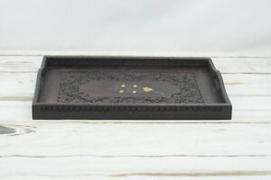 Vintage Victorian Style Butler Serving Tray Ornate Chip Carved Wood Mahogony