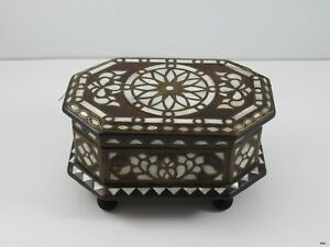 Vintage Turkish Handmade Mother Of Pearl Brass Inlay Jewelry Box Octagonal