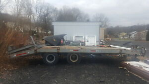 18580 Lbs Gvwr 22 Foot Dual Axle Air Brake Utility Trailer W ramps New 1986