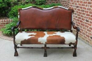 Antique Cowhide Leather Sofa Couch Settee Mahogany Western Ranch Cabin Lodge