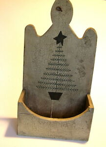 Primitive Hanging Wood Box Feather Tree Design