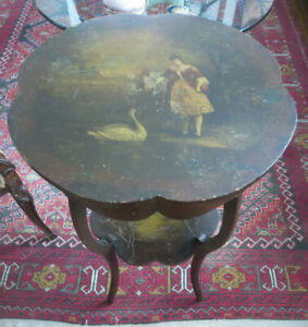 Antique Round Hand Painted Side Table From 1800 S