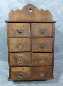 Antique Americana Pine Oak 8 Drawer Wall Mount Spice Box