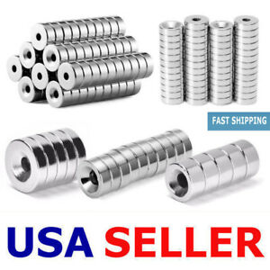 N35 5 100pc Countersunk Ring Round Disc Strong Magnets Rare Earth Neodymium Hole