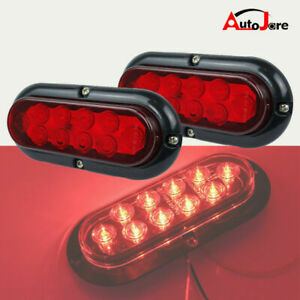 2x Red 10 Led 6 Oval Trailer Truck Stop Turn Backup Tail Light Flush Mount Lamp