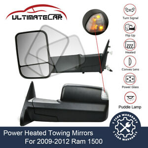 Pair Power Heated Signal Towing Mirrors For 2009 2012 Ram 1500 W Puddle Lamp