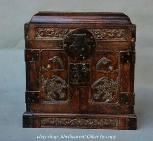 10 Old Chinese Huanghuali Wood Palace Flower Bird Drawer Locker Box Chest