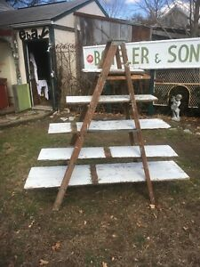 Vtg Primitive Wood Painters Step Ladder Shelf Barn Wood Wedding Display