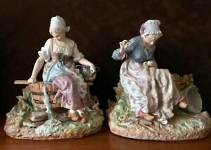 Antique French Limoges Old Haviland Pair Of Bisque Figurines Of Maidens