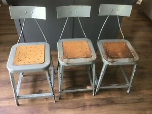 Lot Of 3 Vintage Industrial Factory Draftsman Stool Chair Drafting Metal Chairs