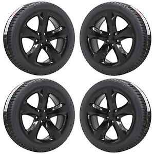 20 Dodge Charger Challenger Gloss Black Wheels Rims Tires Factory Oem Set 2411