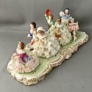 Vtg Dresden Wedding Game Large Lace Porcelain Figurine Grouping Ladies Dogs