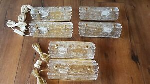 Mid Century Carl Fagerlund Orrefors Art Glass Wall Sconces Danish Swedish Lamp