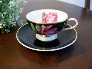 Vintage Thomas Germany Demitasse Tea Cup Saucer Beautiful Pink Rose Black Gold