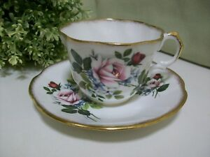 Rosina Tea Cup Saucer Roses Heavy Gold Fine Bone China England